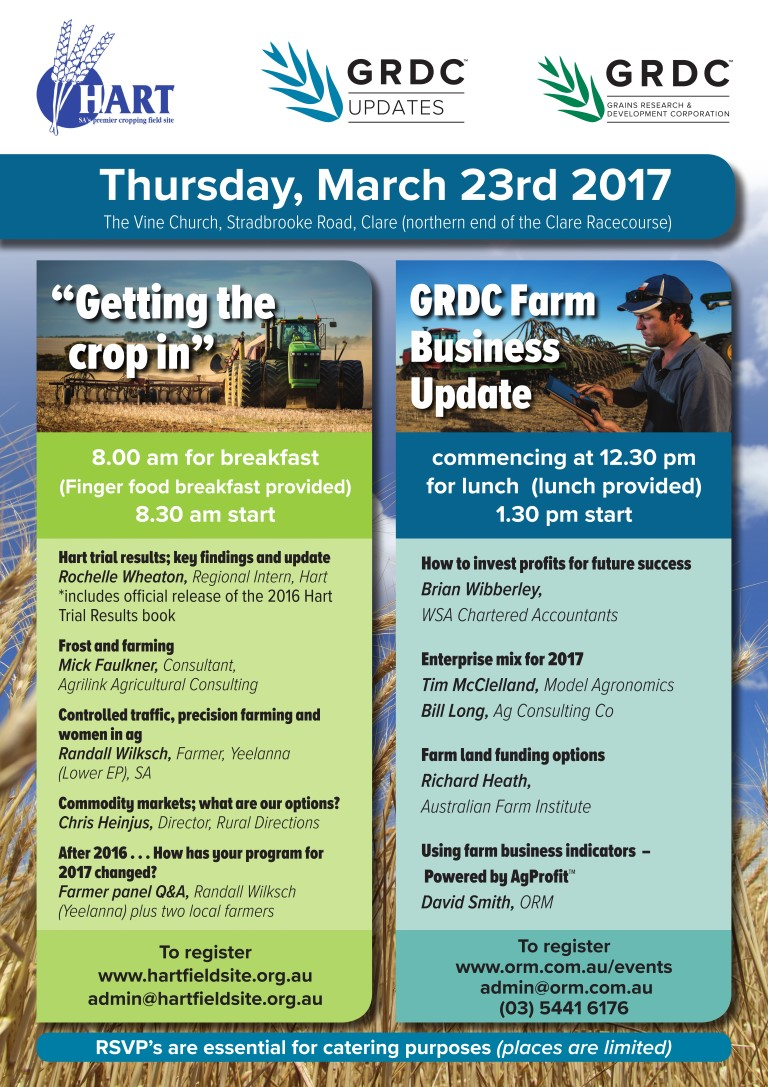 Hart 'Getting The Crop In' seminar and GRDC Farm Business Update 2017