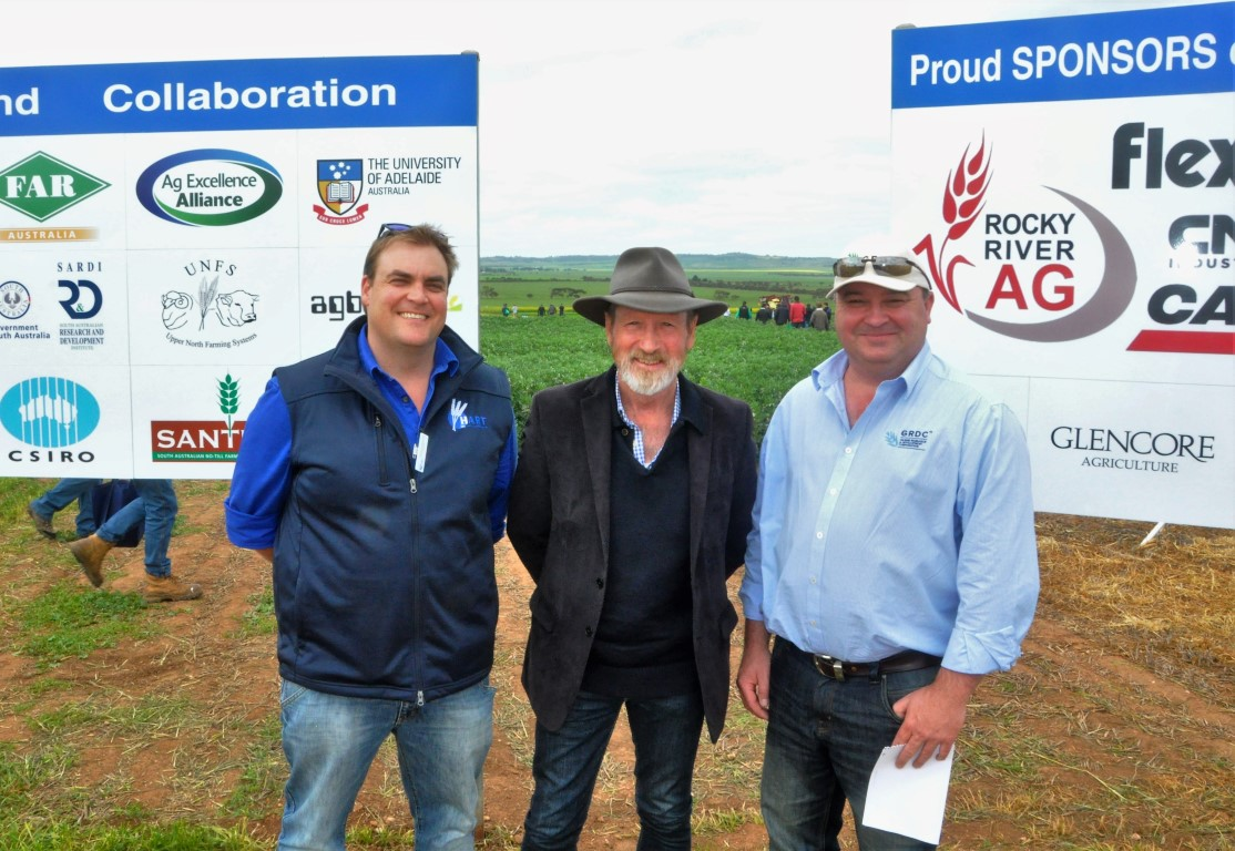 Announcing a GRDC Grains Research and Development Infrastructure Grant of more than $71,000 for a new structure at the Hart Field Site are Hart Field-Site Group chairman Damien Sommerville, Federal Member for Grey Rowan Ramsey, and GRDC deputy chief executive Steve Thomas