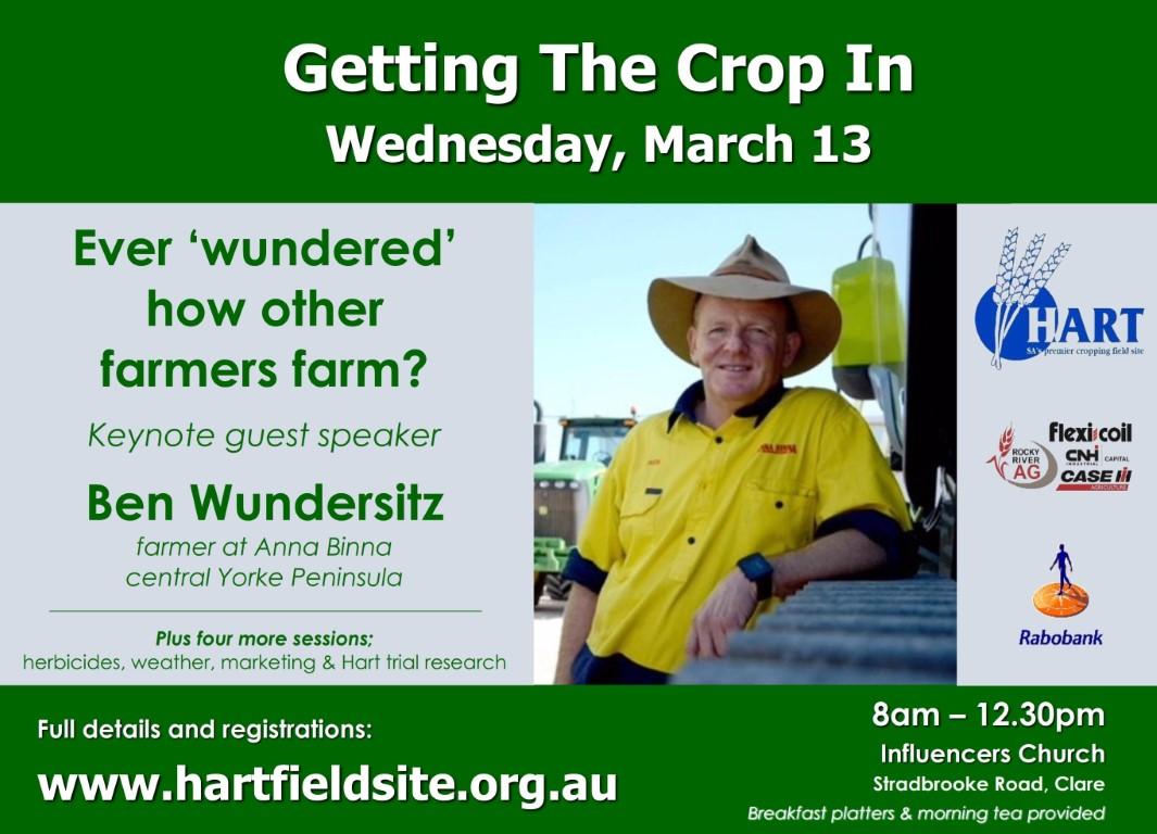 Ben Wundersitz will speak at Hart's Getting The Crop In seminar March 13, 2019