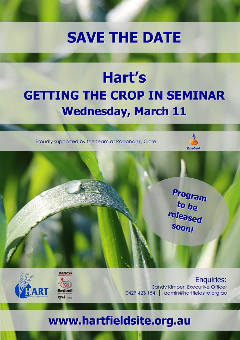 Hart's Getting The Crop In seminar 2020 - save the date