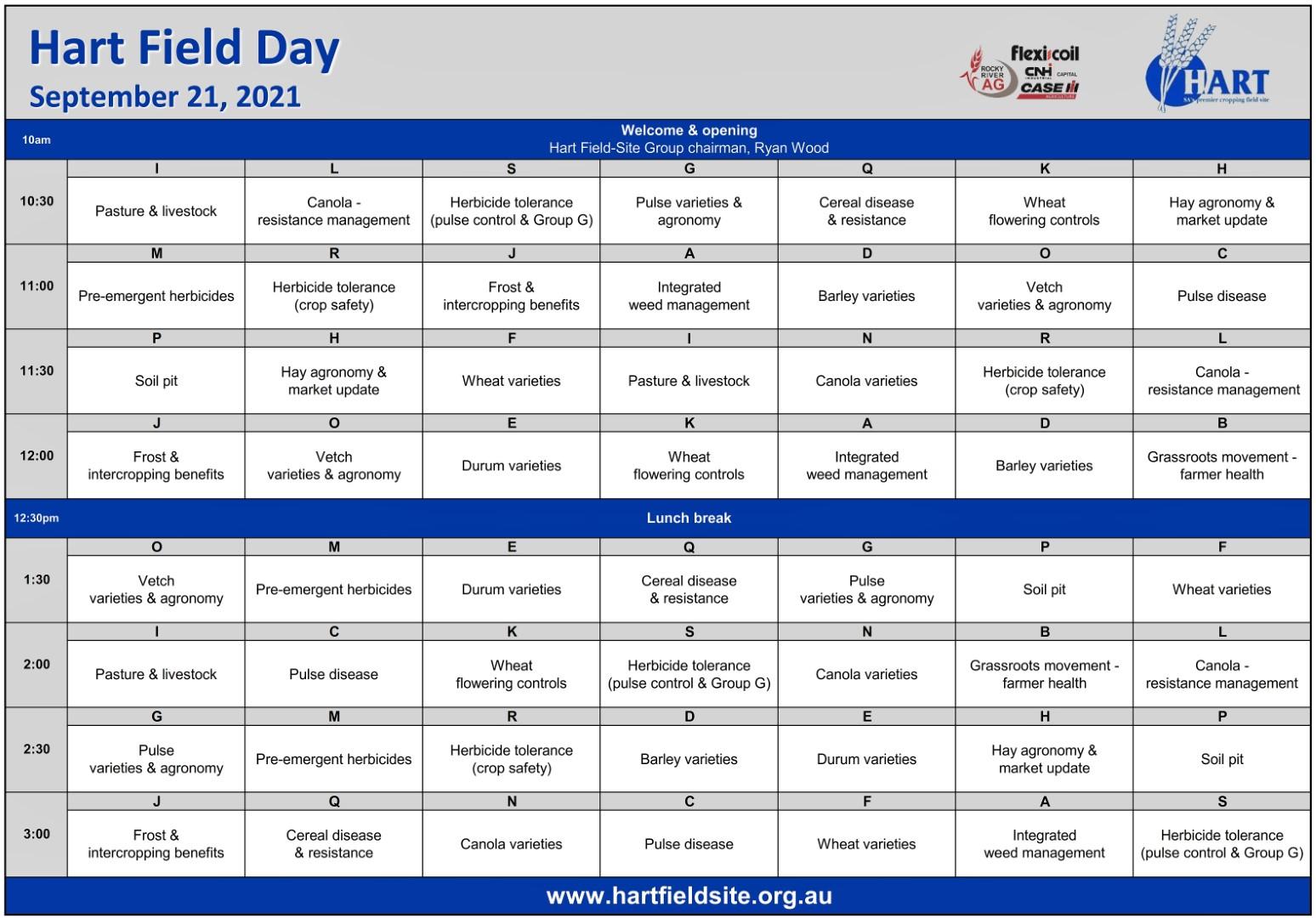 Hart Field Day 2021 - field program