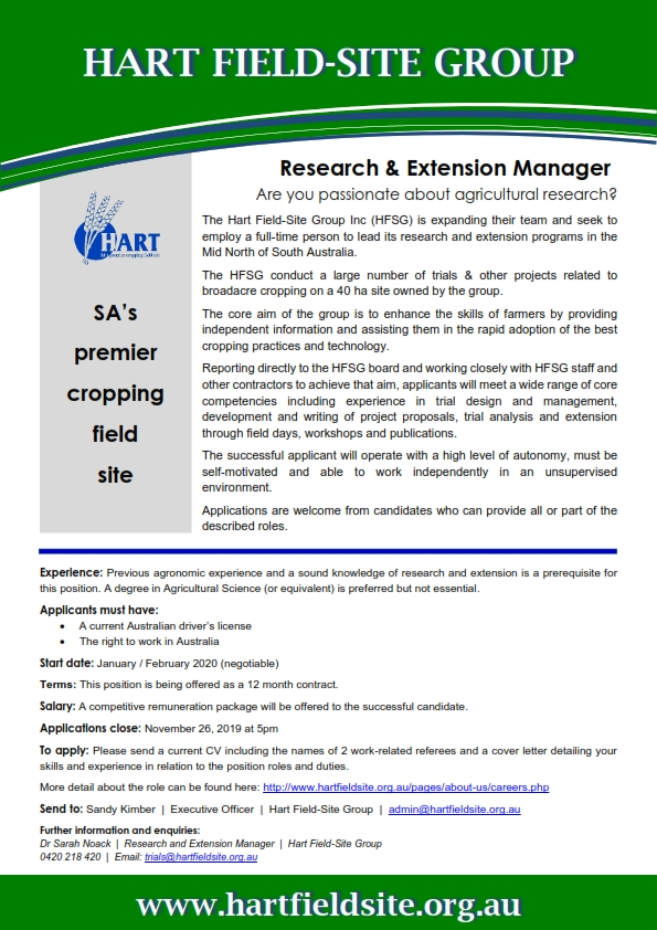 Hart Research & Extension Manager - job advertisment 2019