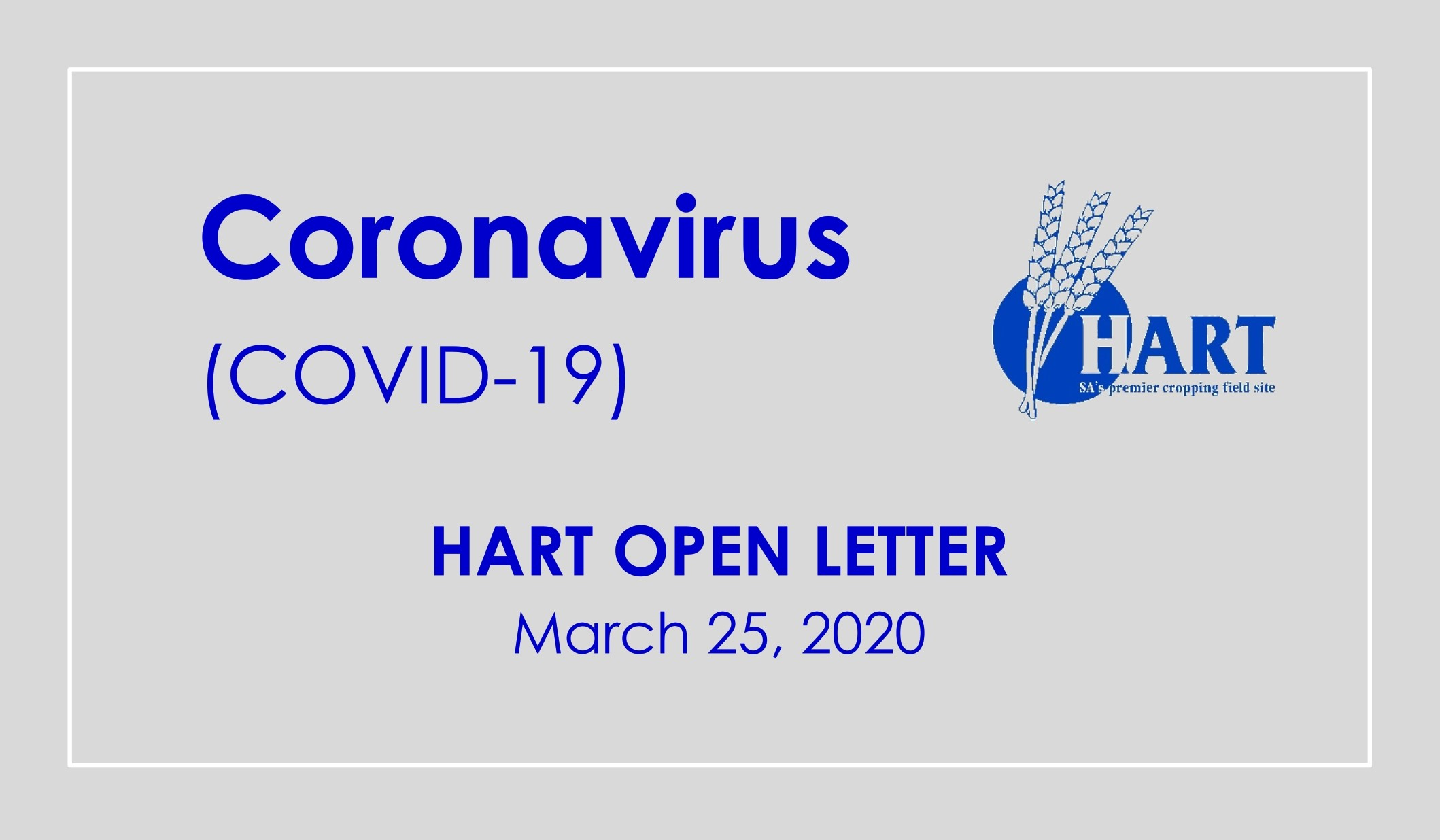 Hart COVID-19 Open Letter | March 25, 2020