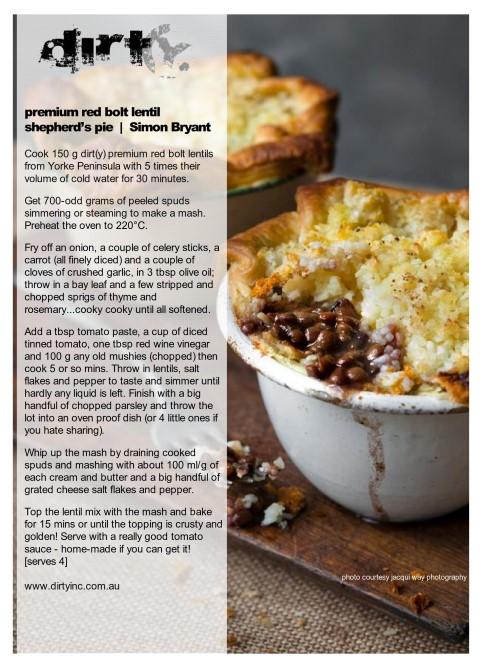Simon Bryan't's lentil shepherd's pie HART 2016