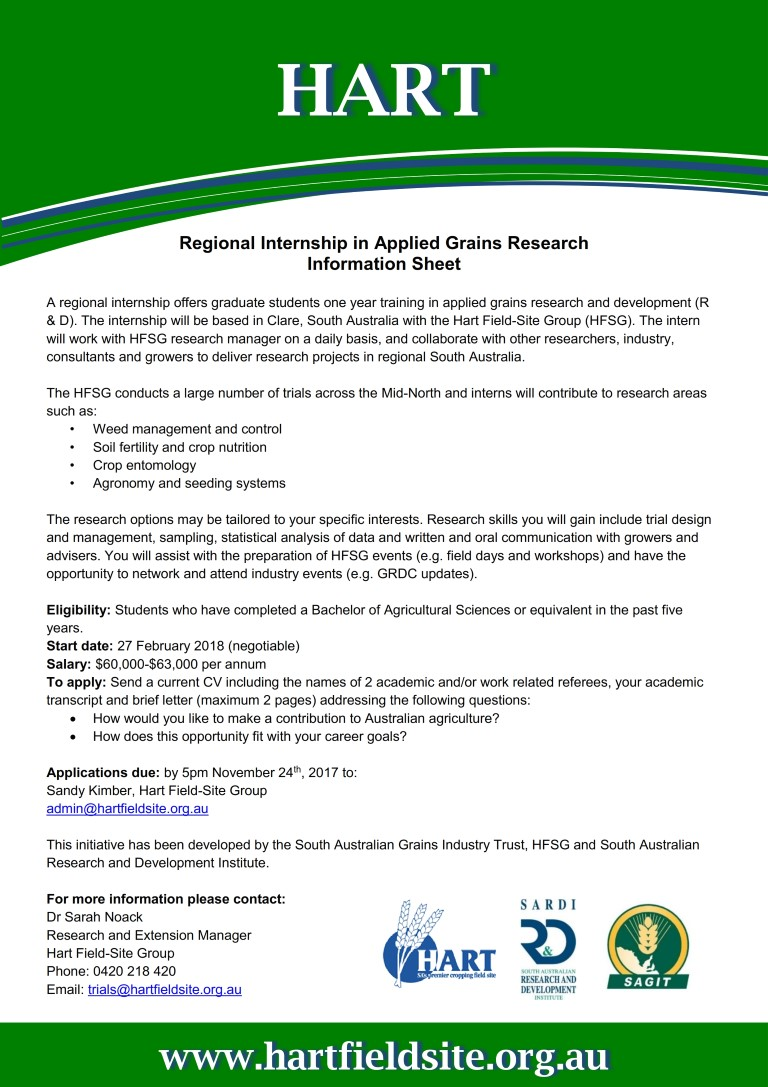 Hart's Regional Internship in Applied Grains Research