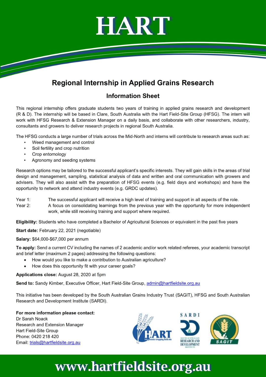 Hart's 2021 Regional Internship in Applied Grains Research - information sheet