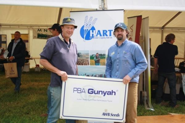 Richard Prusa, AWB Seeds congratulates David Parker of Long Plains on winning 1t certified PBA Gunyah field pea seed
