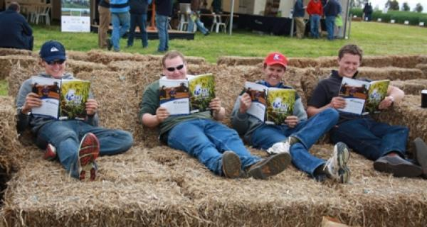 Leighton Schuster, Freeling, John Heinjus, Freeling, Corbin Schuster, Freeling and their Uncle, Ian Zweck, Blyth, enjoying the Hart Field Day 2010