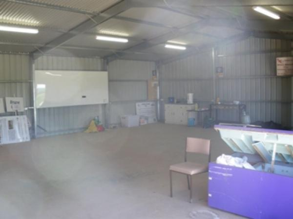 Inside the shed at Hart